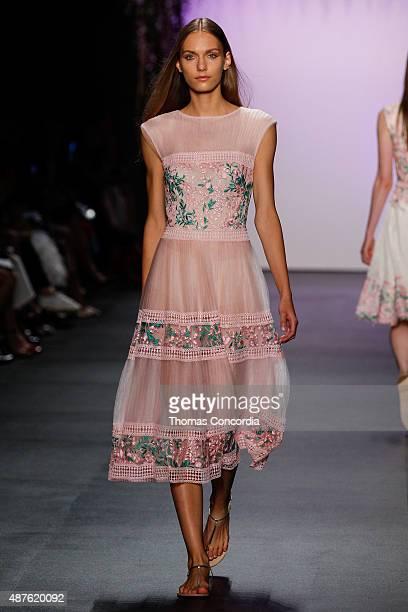 A model walks the runway wearing Tadashi Shoji Spring 2016 during New York Fashion Week The Shows at The Dock Skylight at Moynihan Station on...