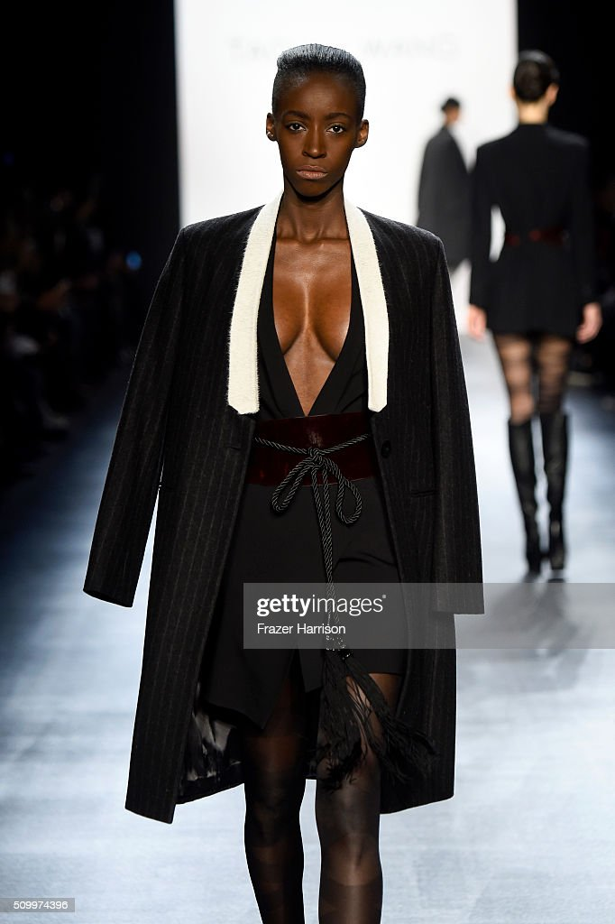 A model walks the runway wearing Taoray Wang Fall 2016 during New York Fashion Week: The Shows at The Dock, Skylight at Moynihan Station on February 13, 2016 in New York City.