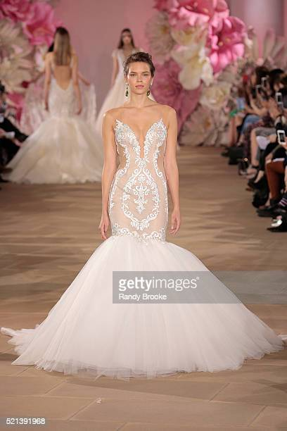 A model walks the runway wearing the Ines Di Santo Bridal Collection Spring 2017 on April 15 2016 in New York City