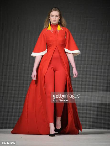 A model walks the runway wearing Tieler James at Vancouver Fashion Week Fall/Winter 2017 at Chinese Cultural Centre of Greater Vancouver on March 25...