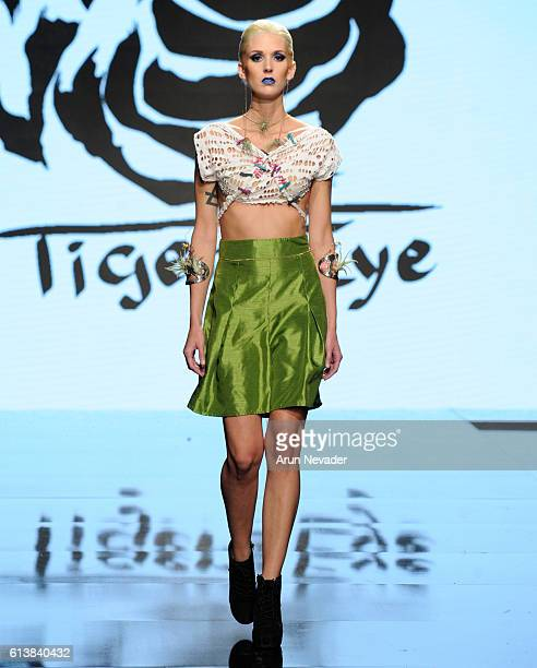 A model walks the runway wearing Tigers Eye Clothing at Art Hearts Fashion Los Angeles Fashion Week presented by AIDS Healthcare Foundation on...