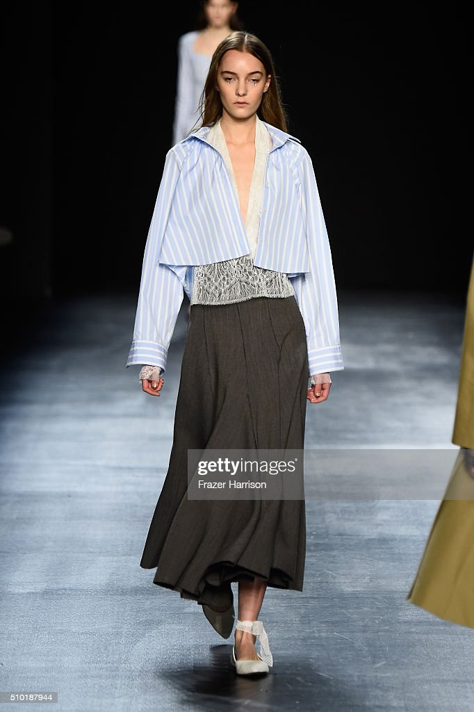 A model walks the runway wearing Tome Fall 2016 during New York Fashion Week: The Shows at The Dock, Skylight at Moynihan Station on February 14, 2016 in New York City.