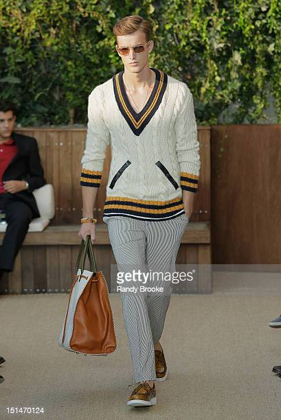 A model walks the runway wearing Tommy Hilfiger Spring 2013 Men's Collection at The Cabanas at The Maritime Hotel on September 7th 2012 in New York...