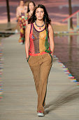 A model walks the runway wearing Tommy Hilfiger Women's Spring 2016 during New York Fashion Week The Shows at Pier 36 on September 14 2015 in New...
