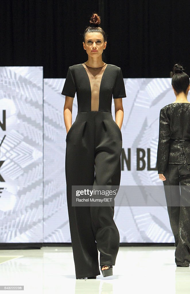 Model walks the runway wearing Tristan Blake at the Fashion & Beauty @ BETX sponsored by Progressive fashion show during the 2016 BET Experience on June 26, 2016 in Los Angeles, California.