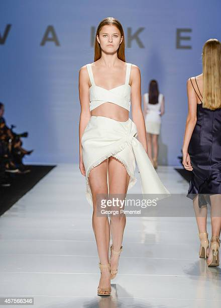 A model walks the runway wearing Vaiken spring 2015 collection during the MercedesBenz Start Up finals at World MasterCard Fashion Week Spring 2015...