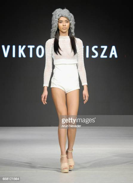 A model walks the runway wearing Viktoria Tisza at Vancouver Fashion Week Fall/Winter 2017 at Chinese Cultural Centre of Greater Vancouver on March...