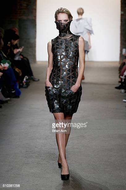 A model walks the runway wearing Virtruvius at Nolcha shows during New York Fashion Week Women's Fall/Winter 2016 presented by Neogrid at ArtBeam on...