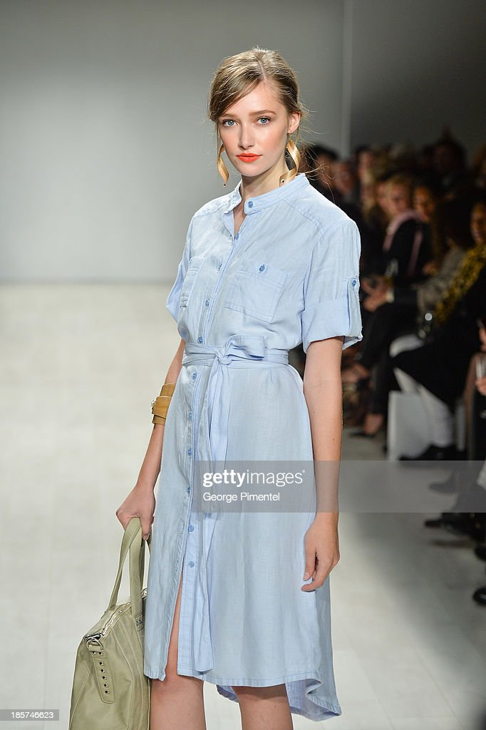 A model walks the runway wearing Whitney LinenÊspring 2014 collection during World Mastercard Fashion Week Spring 2014 at David Pecaut Square on at David Pecaut Square on October 24, 2013 in Toronto, Canada.