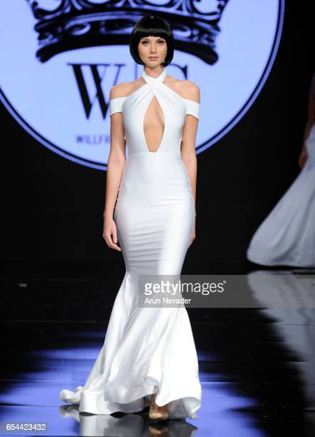 A model walks the runway wearing Willfredo Gerardo at Art Hearts Fashion LAFW Fall/Winter 2017 Day 3 at The Beverly Hilton Hotel on March 16 2017 in...
