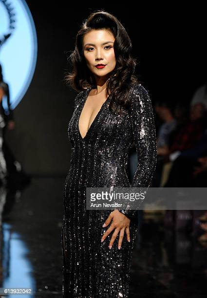 A model walks the runway wearing Willfredo Gerardo at Art Hearts Fashion Los Angeles Fashion Week presented by AIDS Healthcare Foundation on October...