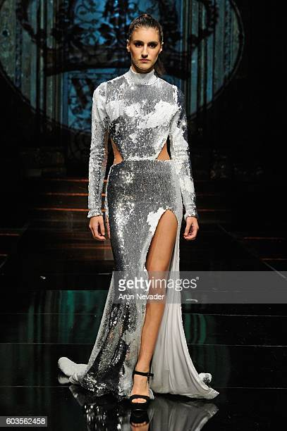A model walks the runway wearing Willfredo Gerardo at Art Hearts Fashion NYFW The Shows presented by AIDS Healthcare Foundation at The Angel Orensanz...