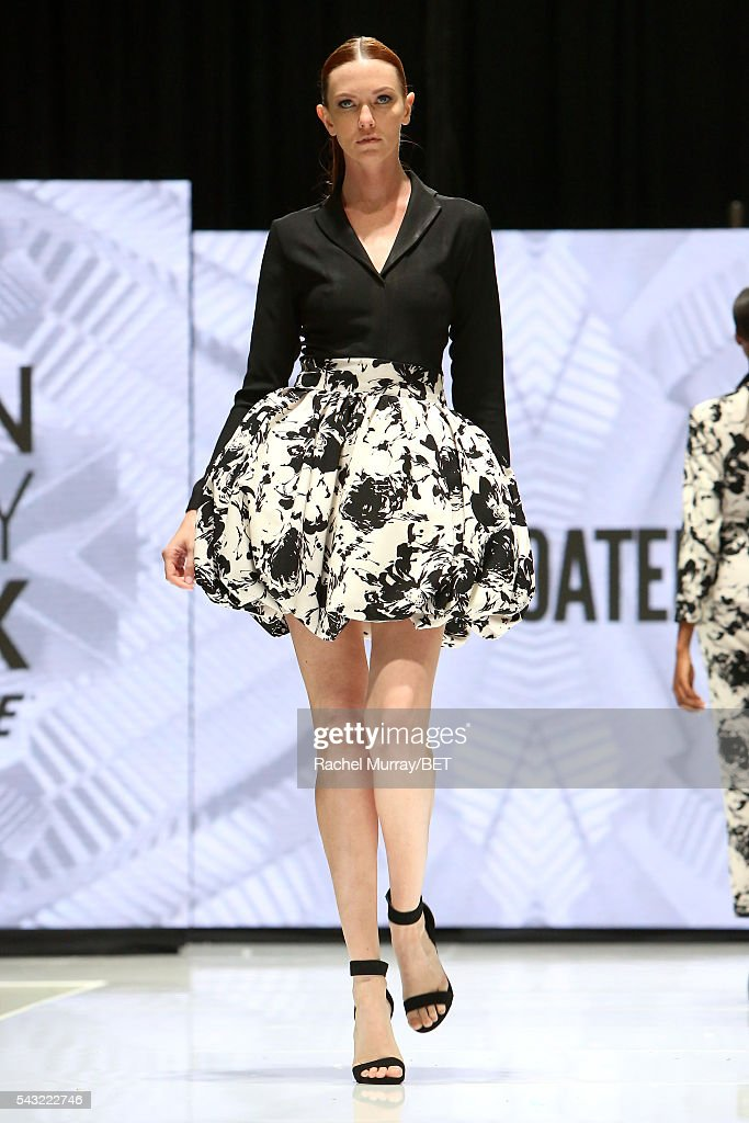 Model walks the runway wearing Yaw Boateng at the Fashion & Beauty @ BETX sponsored by Progressive fashion show during the 2016 BET Experience on June 26, 2016 in Los Angeles, California.
