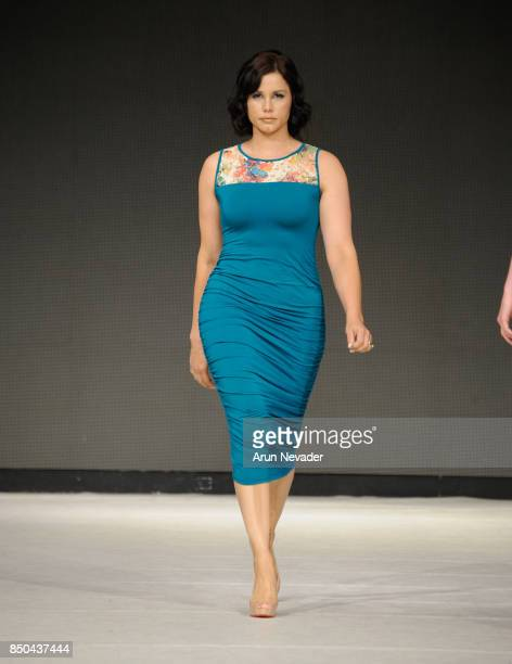A model walks the runway wearing Yifat Jovani at 2017 Vancouver Fashion Week Day 3 on September 20 2017 in Vancouver Canada