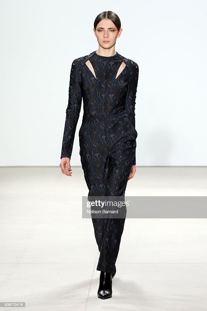 A model walks the runway wearing Yigal Azrouel Fall 2016 during New York Fashion Week: The Shows at The Gallery, Skylight at Clarkson Sq on February 12, 2016 in New York City.