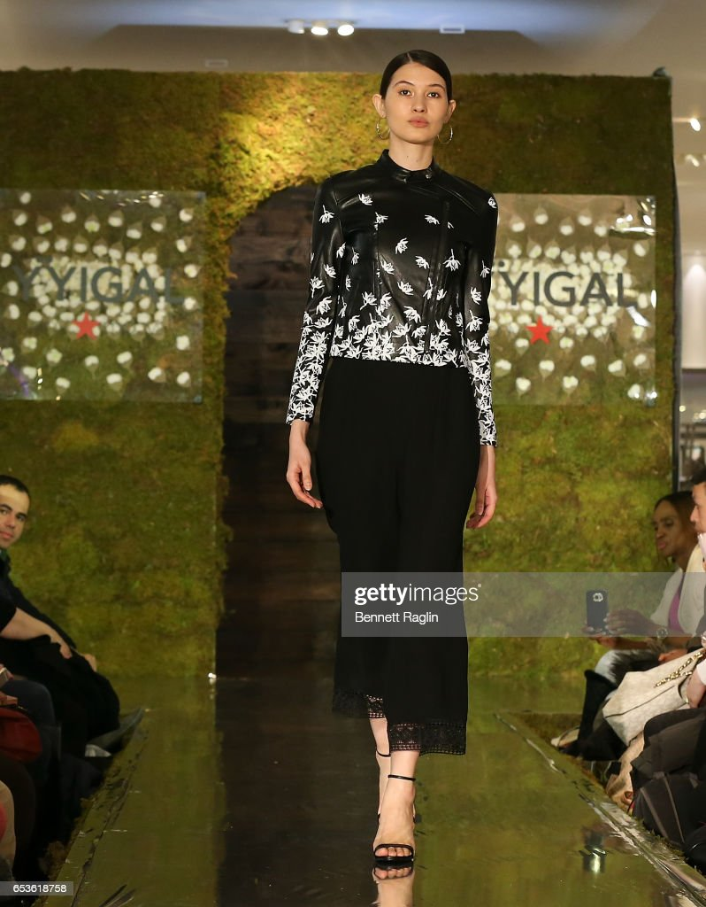 A model walks the runway wearing YYigal Capsule Collection at Macy's Herald Square on March 15, 2017 in New York City.