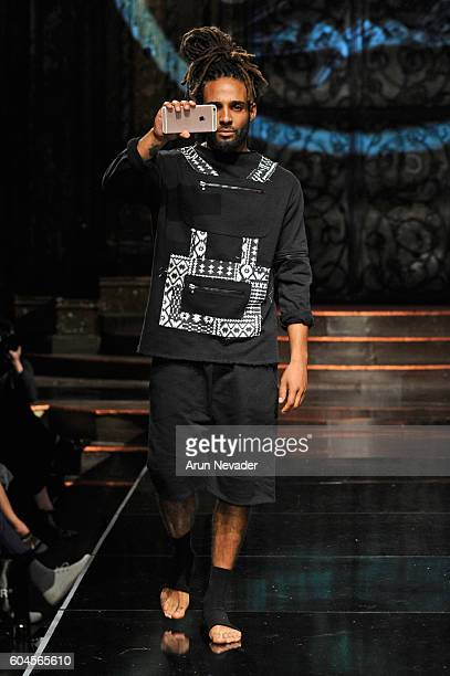 A model walks the runway wearing ZAMP by Zampolini at Art Hearts Fashion NYFW The Shows presented by AIDS Healthcare Foundation at The Angel Orensanz...