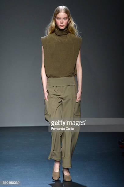 A model walks the runway wearing Zero Maria Cornejo Fall 2016 during New York Fashion Week at Pier 59 on February 15 2016 in New York City