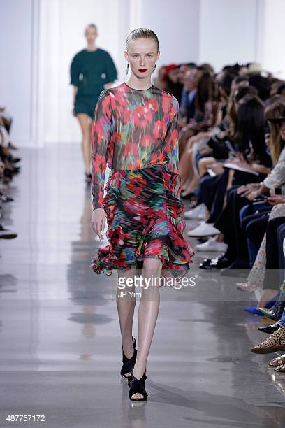A model walks the runway with Kerastase Paris at the Jason Wu S/S 2016 fashion show during Spring Studios on September 11 2015 in New York City