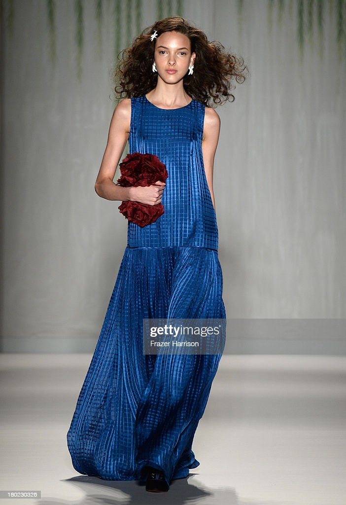 A model walks the runway with TRESemme at Jenny Packham fashion show during Mercedes-Benz Fashion Week Spring 2014 at The Studio at Lincoln Center on September 10, 2013 in New York City.