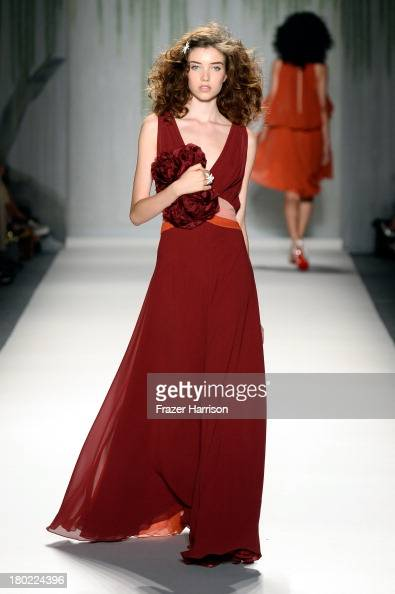 A model walks the runway with TRESemme at the Jenny Packham fashion show during MercedesBenz Fashion Week Spring 2014 at The Studio at Lincoln Center...