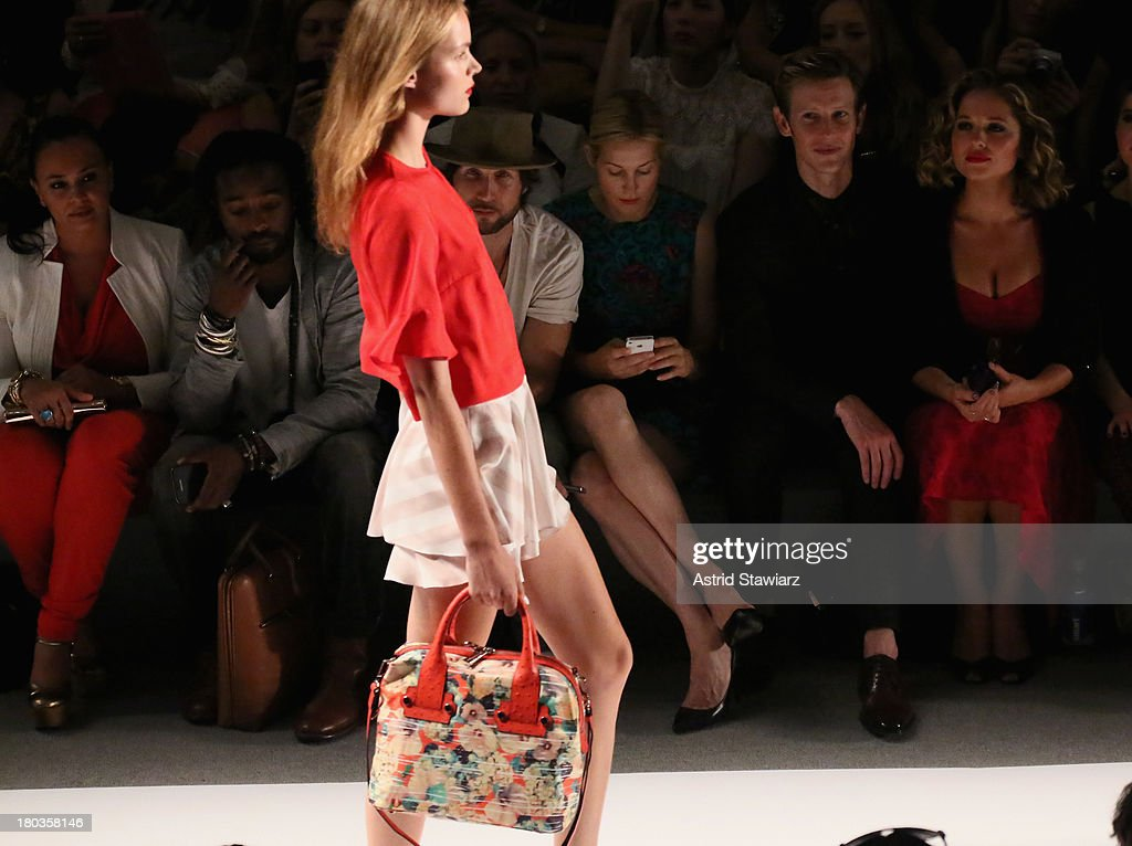 A model walks the runway with TRESemme at the Nanette Lepore fashion show during Mercedes-Benz Fashion Week Spring 2014 at The Stage at Lincoln Center on September 11, 2013 in New York City.