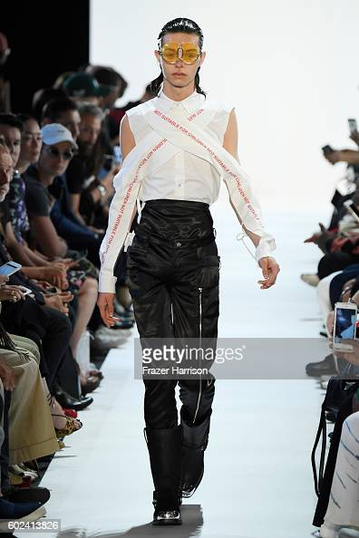 A model walks the ruwnay at the Hood By Air fashion show during New York Fashion Week The Shows at The Arc Skylight at Moynihan Station on September...