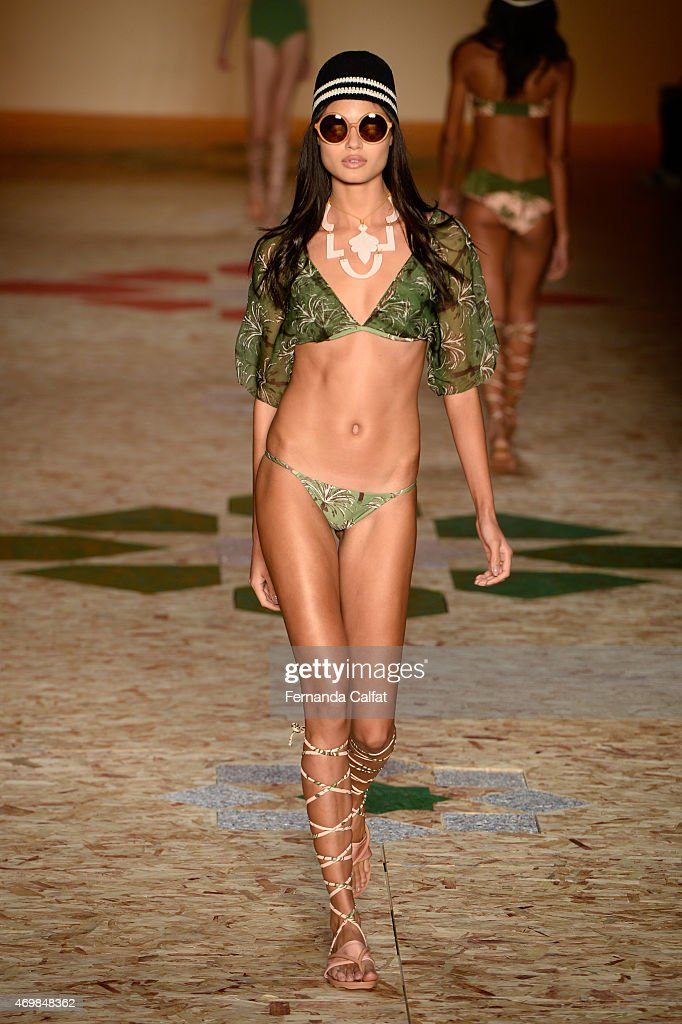 A model walks the Salinas runway at SPFW Summer 2016 at Parque Candido Portinari on April 15 2015 in Sao Paulo Brazil