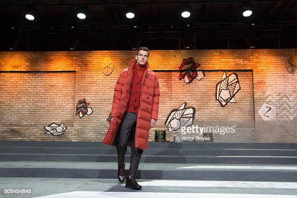 A model walks the stage at Z Zegna presentation during Milan Men's Fashion Week FW16 on January 17 2016 in Milan Italy