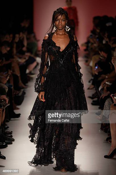 A model walks the Teca by Helo Rocha runway at SPFW Summer 2016 at Parque Candido Portinari on April 16 2015 in Sao Paulo Brazil