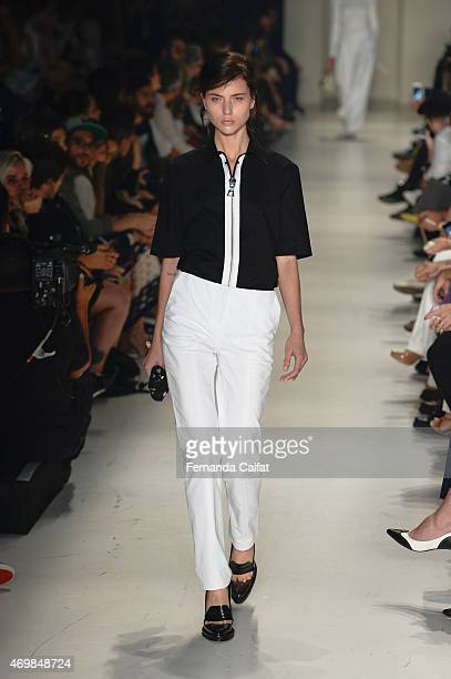 A model walks the Vitorino Campos runway at SPFW Summer 2016 at Parque Candido Portinari on April 15 2015 in Sao Paulo Brazil
