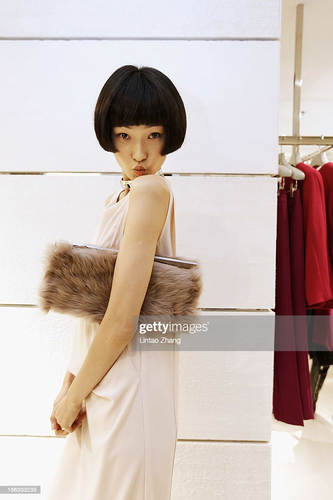 Model Wang Xiao poses for picture during the Fall 2012 Presentation at ck Calvin Klein store in Oriental Plaza on November 13, 2012 in Beijing, China.
