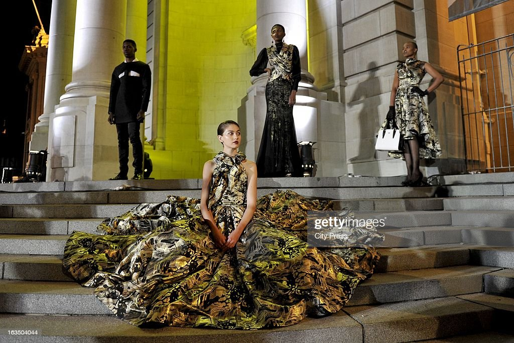 A model wearing a David Thlale design at the Gauteng Legislature building on March 8, 2013, in Johannesburg, South Africa.