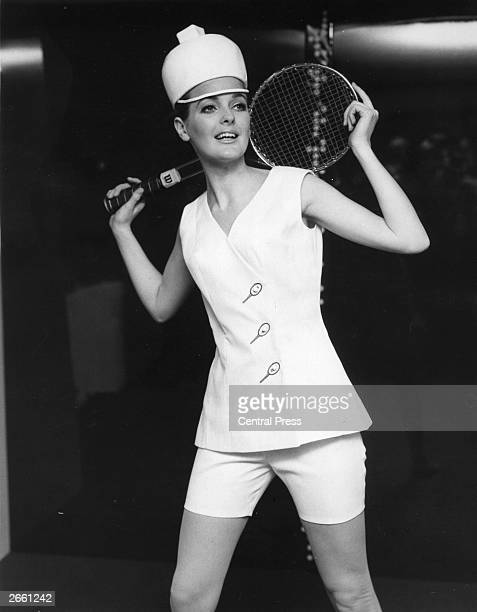 A model wearing a tennis outfit designed by Teddy Tinling at a fashion preview at the Hilton Hotel London