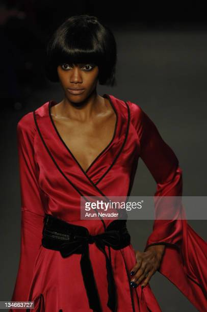 Model wearing Akiko Ogawa Fall 2007 during MercedesBenz Fashion Week Fall 2007 Akiko Ogawa Runway at The Showroom Bryant Park in New York City New...