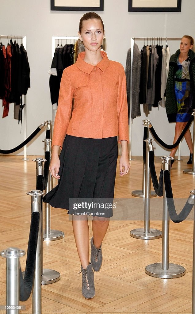 Model wearing Akris Punto at the Saks & Harper's Bazaar Celebration of Falls Most Elevated Collections on Two at Saks Fifth Avenue on September 25, 2008 in New York City.