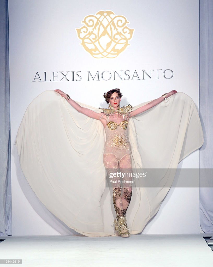 A model wearing Alexis Monsanto design at Alexis Monsanto Spring/Summer Collection 2013 Fashion Show at Vibiana on October 19, 2012 in Los Angeles, California.