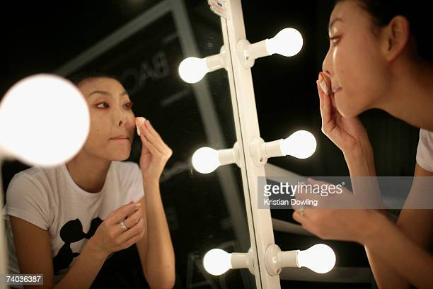 A model wearing an outfit by designer Zambesi prepare backstage on day two of Rosemount Australian Fashion Week Spring/Summer 2007/08 in the Cargo...