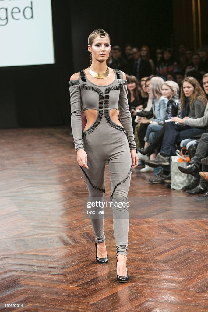 Model wearing an outfit designed by Danish designer Stine Ladefoged during Day 1 of Copenhagen Fashion Week on January 30, 2013 in Copenhagen, Denmark.