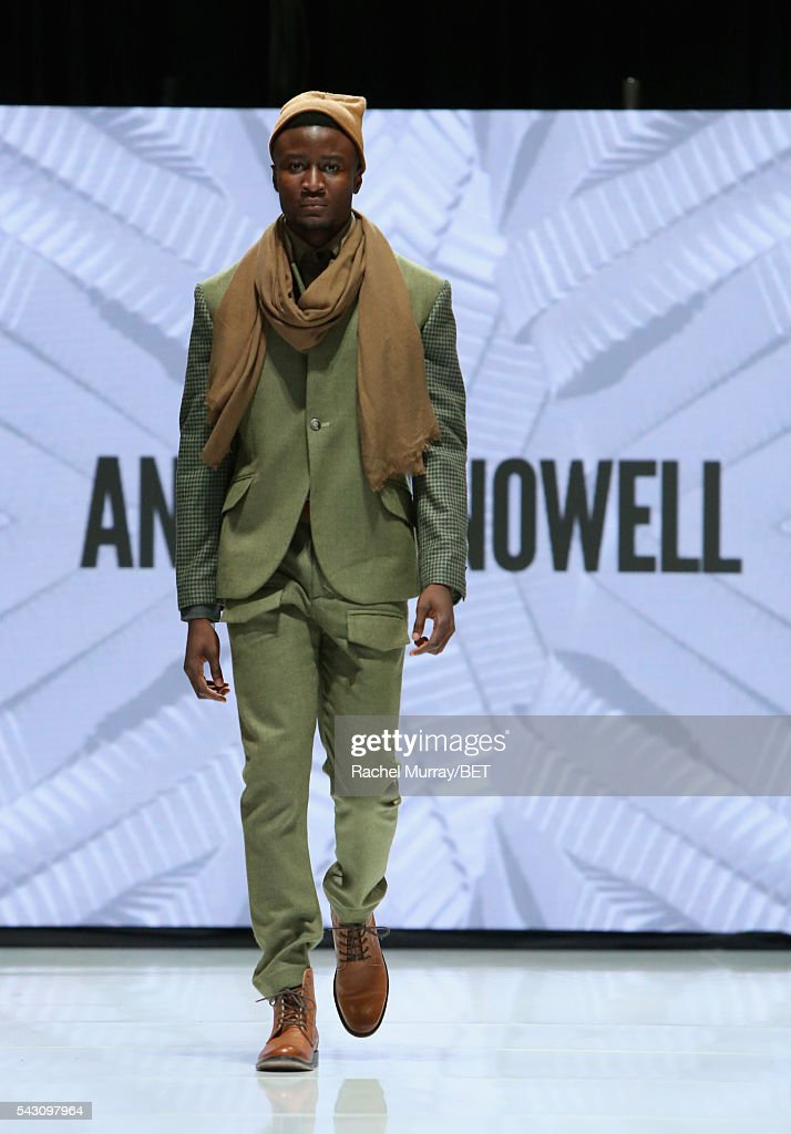 A model wearing Andrew Nowell walks the runway at the Fashion & Beauty @ BETX sponsored by Progressive fashion show during the 2016 BET Experience on June 25, 2016 in Los Angeles, California.