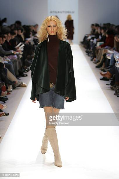Model wearing Atil Kutoglu Fall 2005 during Olympus Fashion Week Fall 2005 Atil Kutoglu Runway at The Plaza Bryant Park in New York New York United...