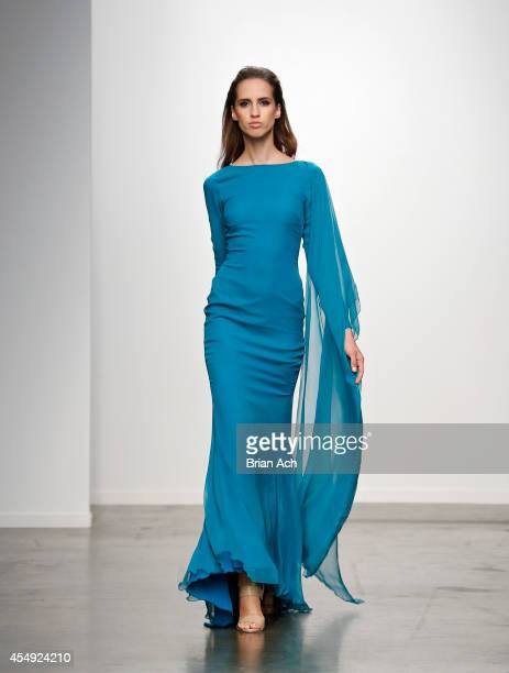 A model wearing Bellucio walks the runway during the Fashion Palette Australia runway show during New York Fashion Week Spring 2015 at Pier 59 on...
