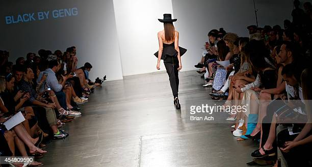 A model wearing Black by Geng is seen walking the runway during the Fashion Palette Australia show during New York Fashion Week Spring 2015 at Pier...