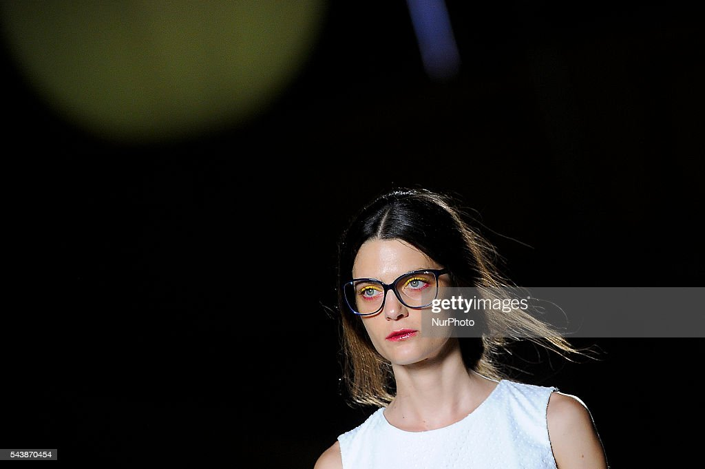 A model wearing clothes from Antonio Miro, during the last day of 080 Barcelona Fashion Week on June 30, 2016 in Barcelona, Spain.
