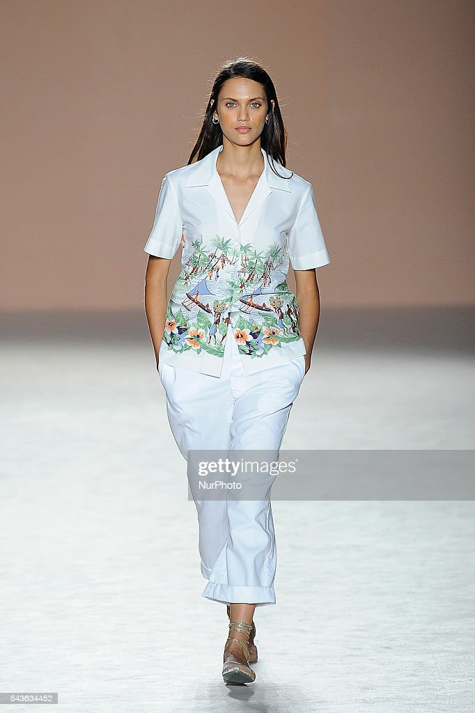 A model wearing clothes from Lebor Gabala during the third day of 080 Barcelona Fashion Week on June 29, 2016 in Barcelona, Spain.