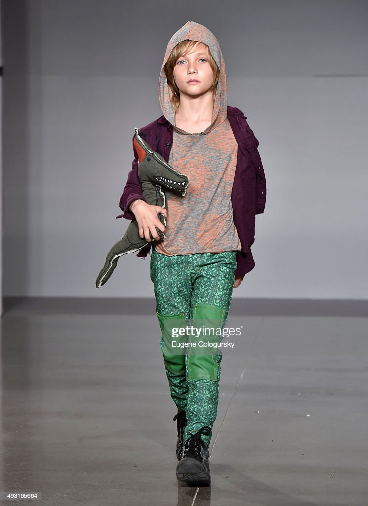 A model wearing designs from Parsons School of Design at petitePARADE / Kids Fashion Week NYC October 2015 at Spring Studios on October 17 2015 in...