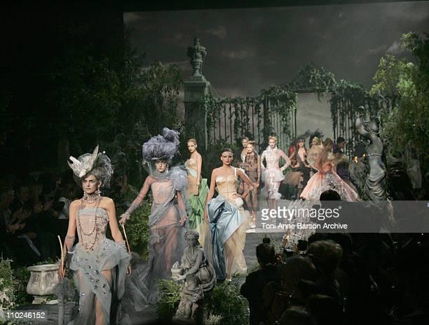 Model Wearing DIOR Haute Couture during 2005 Paris Fashion Week Haute Couture Fall/Winter 2005/2006 DIOR Runway at Polo de Paris in Paris France
