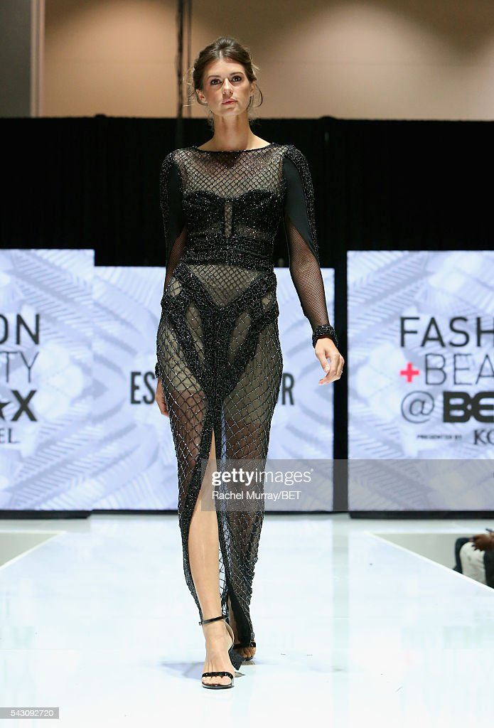 A model wearing Ese Azenabor walks the runway at the Fashion & Beauty @ BETX sponsored by Progressive fashion show during the 2016 BET Experience on June 25, 2016 in Los Angeles, California.
