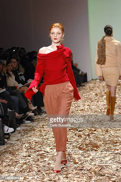 Model wearing Esteban Cortazar Fall 2005 during Olympus Fashion Week Fall 2005 Esteban Cortazar Runway at The Plaza Bryant Park in New York New York...