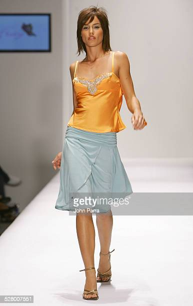 Model wearing Fray during Funksion Fashion Week Miami Fray Spring/Summer 2005 at The Moore Building in Miami United States